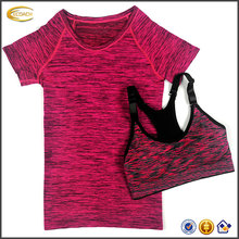Ecoach short sleeve quick dry sports bra t shirt set women's professional Workout Fitness gym running sports t shirt
