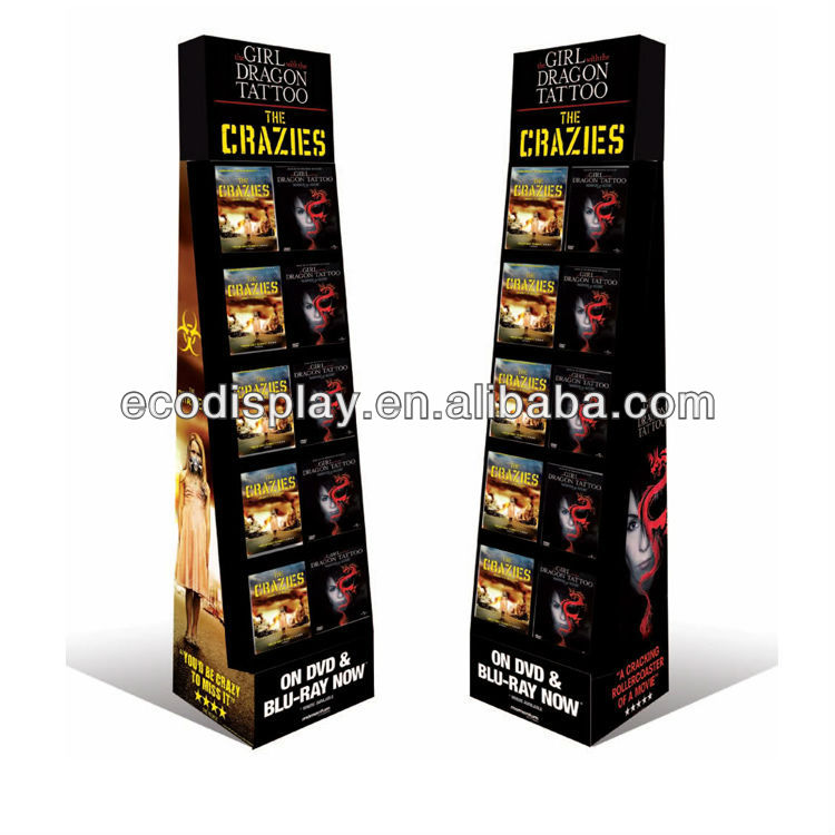POP Retail Cardboard Floor Display for CD DVD or books