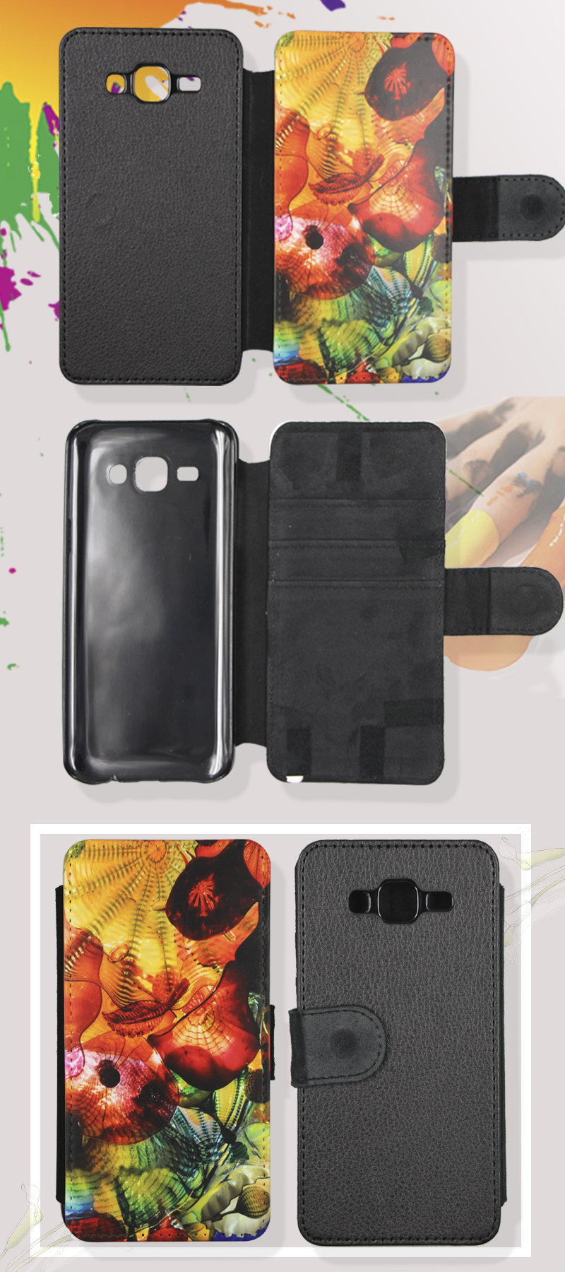 customize printing factory sublimation leather phone cover for Galaxy J5