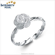 Beautiful flower nice quality Fashion romantic silver engagement ring