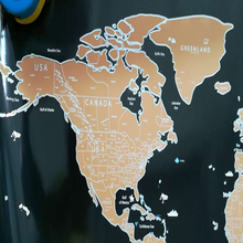 "Quality copper foil travel maps ""it's a beautiful world"" scratch your travels track map"