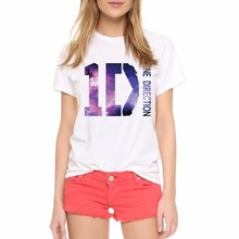 Women T Shirt Clothes White O Neck T-Shirt ONE DIRECTION Printed Punk Tops