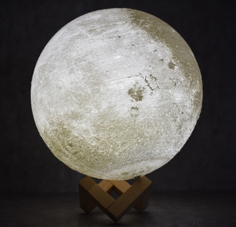 Customize Design LED USB Recharge Portable Luna Night Light 3D printed moon shape Lamp