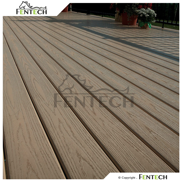 Fentech outdoor low price vinyl tile flooring 100 pvc for Low price decking