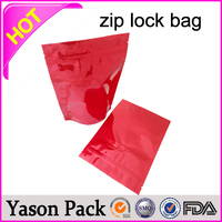 Yason hot printed transparent pvc zipper bag red food grade zipper pouches/designer ziplock packaging plastic bag with double zi