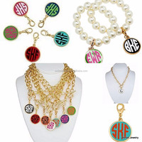Personalized gold monogram enamel disc pendant necklace