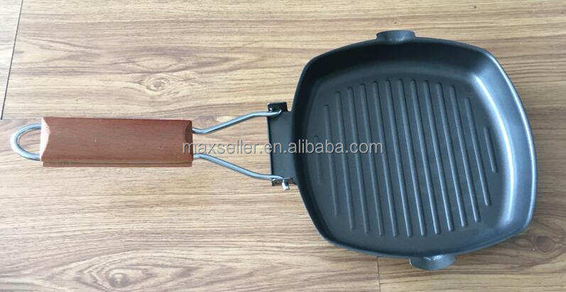 hot selling 20cm cast iron non-stick fry pan/BBQ pan/ grill pan with foldable wooden handle