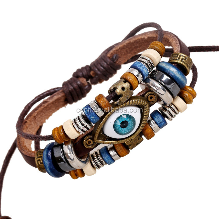 Evil Eye & Colorful Flat Round Beads Leather Bracelet Vintage Evil Eye Bracelet Friendship Bracelet