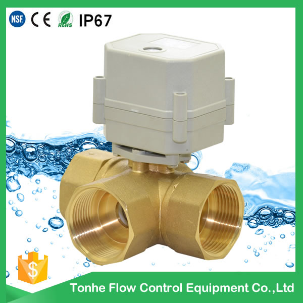 "New Production!! DN32 1 1/4"" 3-way brass ball valve electric motor valve,Light torque!"