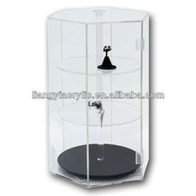 Counter top revolving acrylic boutique display cabinet