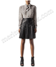 Women Fashion Black Leather Pencil Pleated Skirts