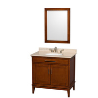 36 Inches floor mounted light & dark chestnut color bathrooms cabinet soild wood with mirror