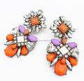 Fashion New Design Colorful Stone Statement Earrings Crystal Flower Drop Earring Jewelry Wholesale
