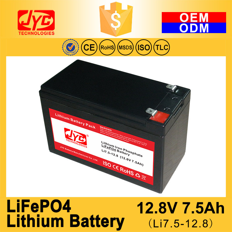 Cycle Life >2000 cycles @1C 100%DOD 12.8V 7.5Ah small Lithium ion Polymer LiFePO4 LiPO Battery Pack