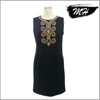 Wholesale Ladies Dress Plain Pattern Dress with Beads