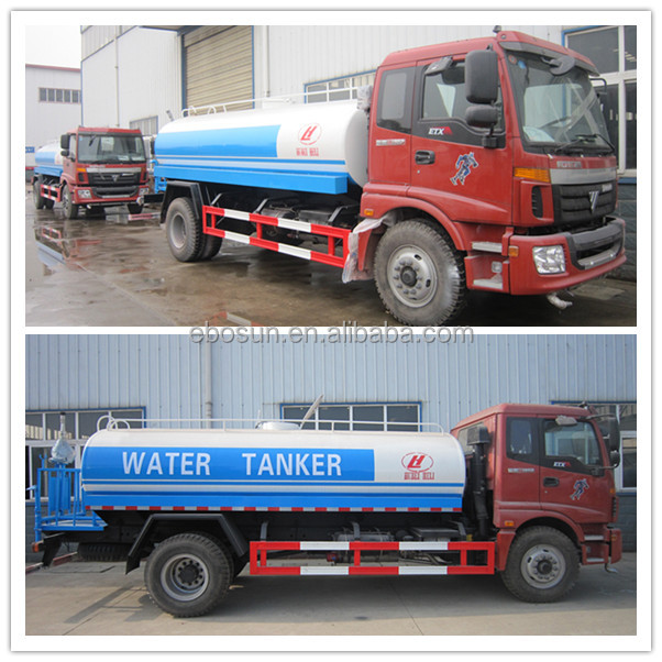 Foton water bowser truck/water tender truck 10000-15000 liters for sale