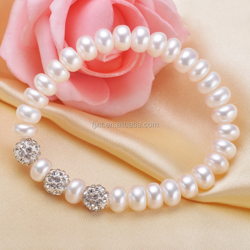 Elastic Rope with crystal beads freshwater pearl bracelet