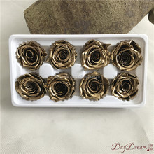 Kunming gold rose market soft texture natural preserved flowers everlasting 24k gold roses
