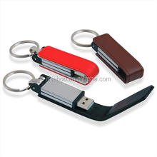 Free embossed logo 16gb black leather usb flash drive,Custom Flash drive usb leather, custom leather usb pen drive with keychain