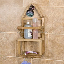 Bamboo Wood Shower Caddy Suction Shower Shelf