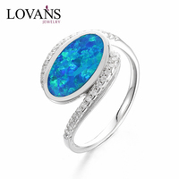925 Sterling Silver Ring Designs For Girl Single Opal Stone Finger Ladies Designs SRI120W