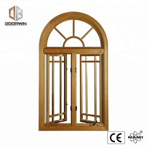 soundproof arch and picture double glazing aluminum clad timber round open hand crank window