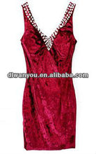 Sex red elegant V-neck fashional evening party dress