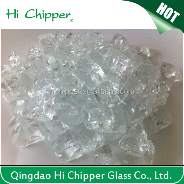"FIREGLASS - FIREPIT GLASS - 1/4"" CLEAR TEMPERED CRUSHED GLASS"