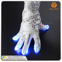 2016 Amazing Novelty Paillette Blinking Rave Light Finger Lighting Flashing LED Gloves for cheering up concert and festival