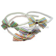 Striped bow Alice Band
