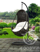 Fashionable commercial leisure PE rattan garden outdoor furniture egg swing hanging chair