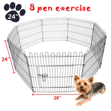 8 panel Pet Dog Exercise Pen Playpen Fence Yard Kennel Portable