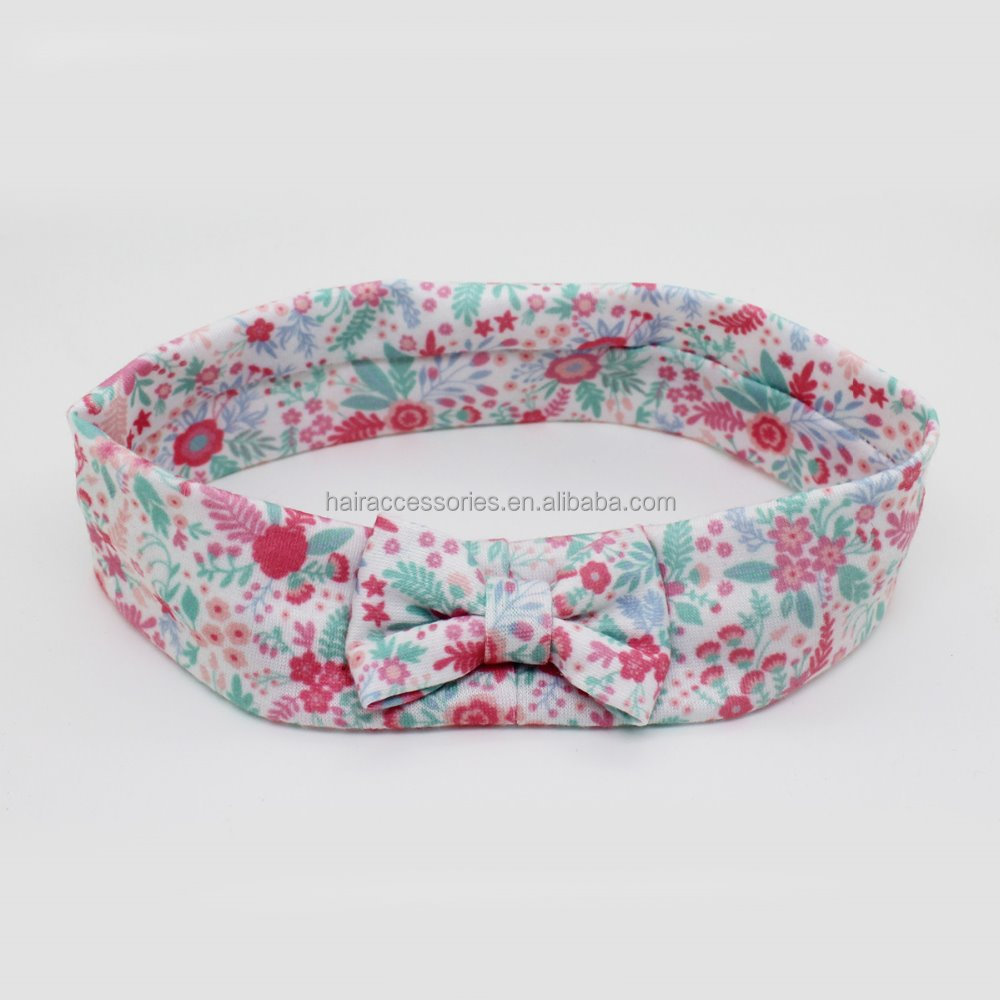 "Printing Flower Bow Headband Baby/kids 2"" Wide Cotton Headbands"