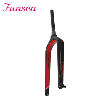 Funsea manufacturer OEM ODM customized 28.6 * 23.6 * 398mm HP-FK05 black red road racing bike fork full T700 carbon fork bicycle