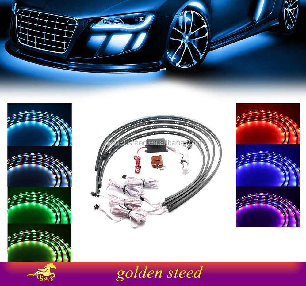 7 Color LED Strip Under Car Tube underglow Underbody Neon Lights Kit