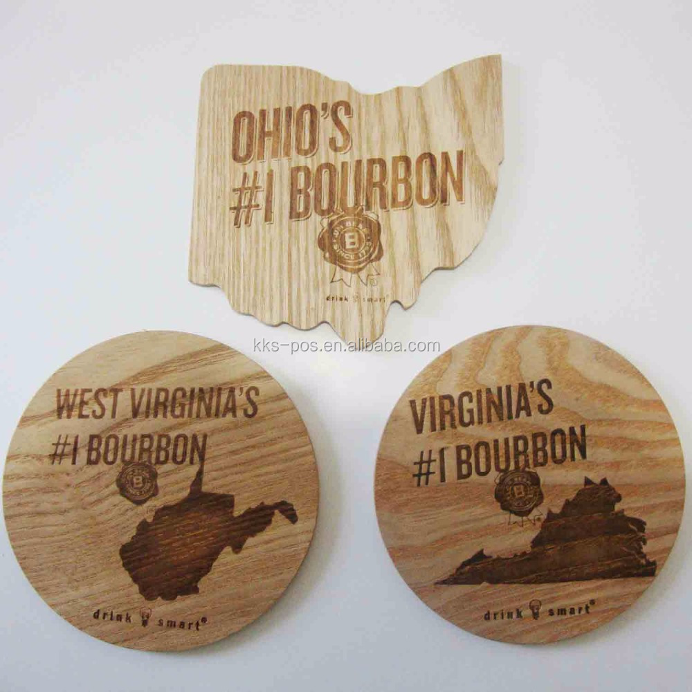 Jim Beam Drink Coasers, Premium Custom Wooden Coasters, Customized Shape Coasters