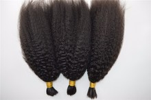 No weft human hair bulk for braiding coarse yaki hair 7a 100% human hair in bulk 1b
