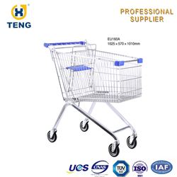 European Style Supermarket Shopping Trolley Classical Steel Material Shopping Trolley In Shop Mall Stroller