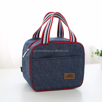 promotional denim fitness cooler bag ppolyester lunch bag