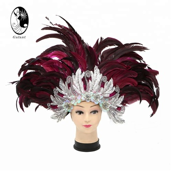 GALANT Women's Red Feather Headdress Indian Long Silver Sequins Samba Performance Headpiece(Silver Sequins)