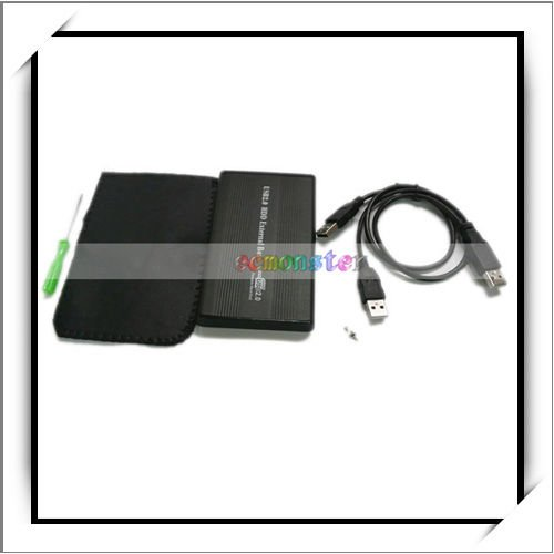 "2.5"" Black USB 2.0 IDE 2.5 HD Hard Drive Enclosure Case"