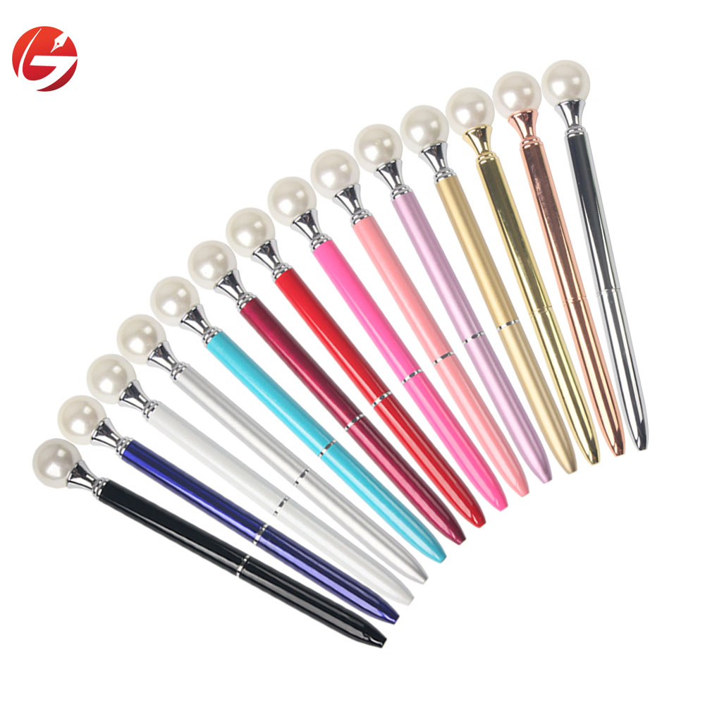 Beautiful design crystal pearl on metal pen top hotel pen ballpoint pen with custom logo