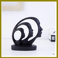 2017 black table resin figurine head house decoration item for wholesale