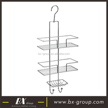 BX Group factory supply 3 tier chrome plate shower rack with wall hanging hook