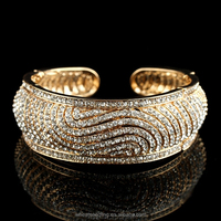 2015 Fashion Luxury Alloy Jewelry Gold Plated Full Crystal Women Cuff Bracelet Jewelry From India