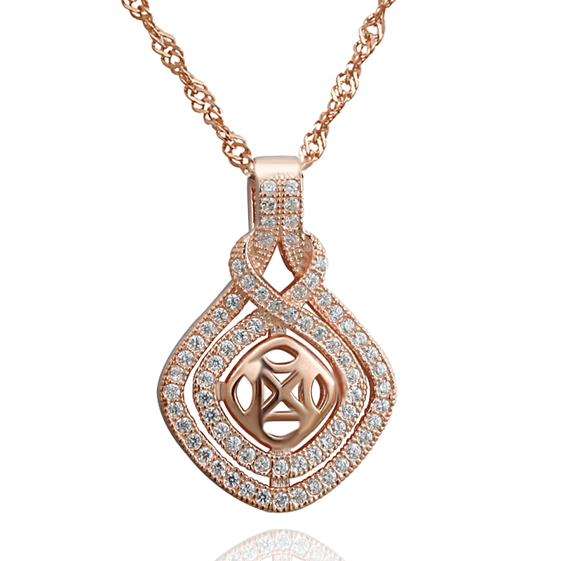 2016 unique design luxury jewelry micro pave rose gold plated s925