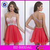 EDC041 New Design One Shoulder Sparkle Crystal Cocktail Dress Short Red