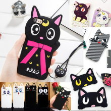 Fashon Sailor Moon Cartoon 3D Luna Cat Artemis Phone Case for iPhone 4 4S 5 5S SE 6 6S Plus 7 7 Plus Soft Silicone Cover Fundas