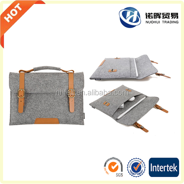 Real Leather Bottom Bag Magnetic Button Felt Laptop Sleeve