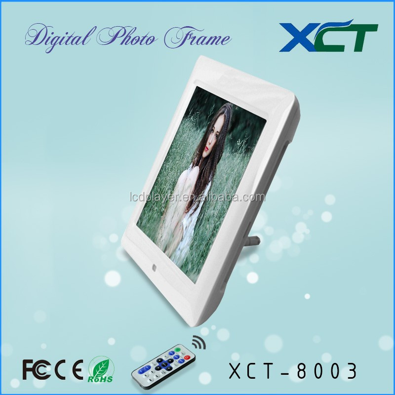 Wholesale bulk wall mounted gif lcd led 8 inch supermarket digital photo frame ce rohs XCT-8003